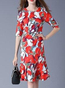 Red Apple Print Frill Dress
