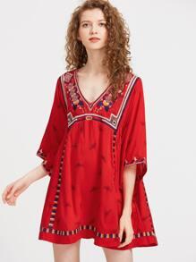 V-Neckline 3/4 Length Sleeve Embroidery Rayon Dress