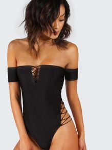 Black Lace Up Detail Off The Shoulder Bodysuit