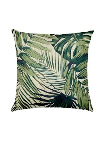 Beige Leaf Print Pillowcase Cover