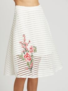 White Flower Embroidered Striped Mesh Overlay Skirt