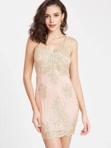 Gold Spaghetti Strap Embroidery Bodycon Dress