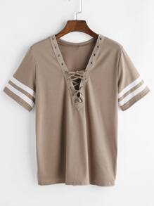 Khaki V Neck Lace Up Varsity Striped T-shirt