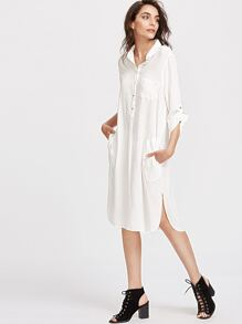 White Roll Tab Sleeve Slit Side High Low Shirt Dress