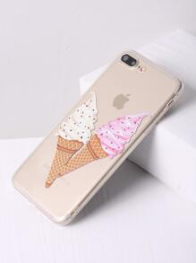 Double Ice Cream Print Clear iPhone 7 Plus Case