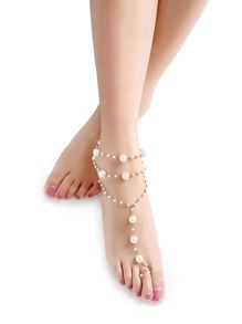 Gold Chain Pearl Design Anklet