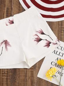White Flower Print Zip Back Shorts