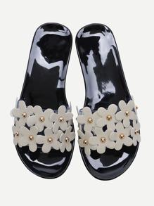 Black Flower Embellished Slide Flat Sandals