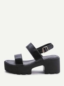 Black Strappy Platform PU Sandals