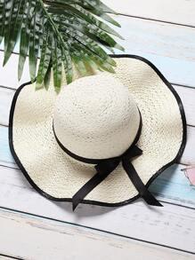 White Bow Tie Design Wide Brim Straw Hat