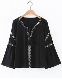 Black Embroidery Tassel Tie V Neck Blouse