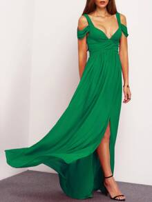 Green Drape Cold Shoulder Ruched Waist Slit Dress