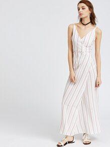 Vertical Striped V Neck Wrap Dress