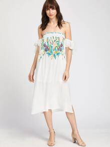 White Tie Sleeve Embroidered Off The Shoulder Dress