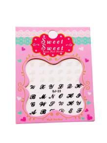 Black And White Letter Nail Sticker