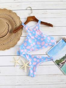Blue Shell Print Bikini Set