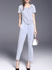 Blue Beading Belted Top With Pockets Pants