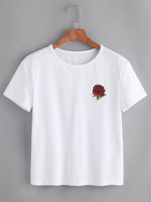 White Rose Embroidered Short Sleeve T-shirt