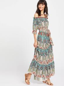 Tribal Print Ruffle Cuff Tiered Bardot Dress