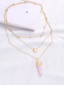 Gold Heart Pendant Layered Chain Necklace