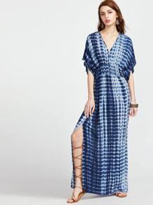 Navy Tie Die Print Double V Neck Slit Kimono Dress