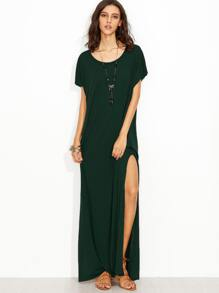 Scoop Neck Slit Maxi Tee Dress