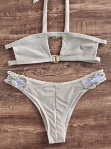 Pale Khaki Halter Cutout Design Bikini Set