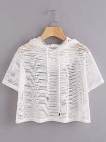 Drop Shoulder Crop Fishnet Hooded T-shirt