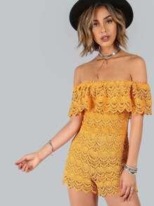 Off Shoulder Crochet Romper GOLD