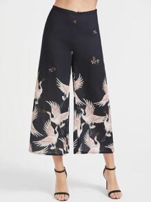 Black Crane Print Wide Leg Pants