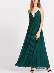 Dark Green Plunge Neck Crisscross Back Pleated Cami Dress