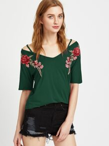 Dark Green Rose Patch Strappy V Neck T-shirt