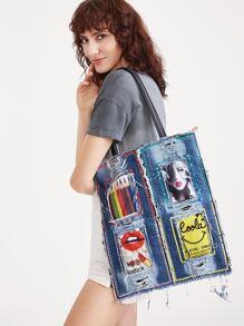 Blue Printed Sequin Trim Denim Tote Bag