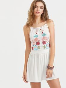 White Low Side Embroidered Cami Dress
