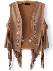 Geometric Embroidery Fringe Detail Suede Vest