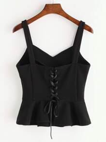 Black Lace Up Back Peplum Tank Top