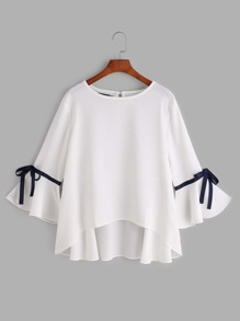 White Bell Sleeve Bow Tie Dip Hem Blouse