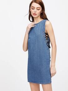 Blue Eyelet Lace Up Zip Back Denim Tank Dress