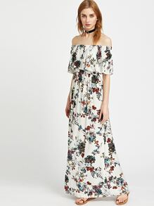 White Botanical Print Ruffle Off The Shoulder Dress