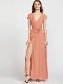 Orange Polka Dot Print Surplice Wrap Dress
