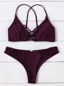 Burgundy Criss Cross Design Bikini Set