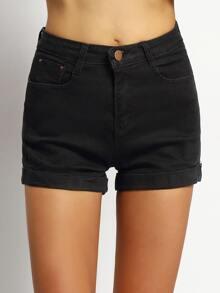Cuffed Denim Black Shorts