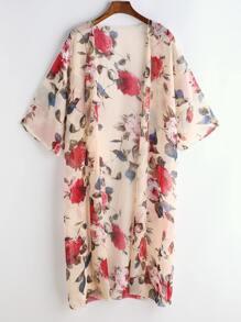 Apricot Floral Print Chiffon Kimono