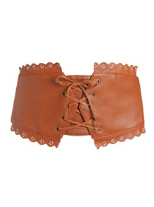 Camel Scalloped Trim Lace Up PU Corset Belt