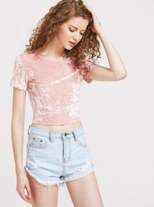 Slim Fit Crop Crushed Velvet T-shirt