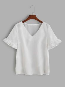 White V Neck Ruffle Sleeve Top