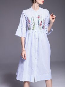 Blue Striped Flowers Embroidered Dress