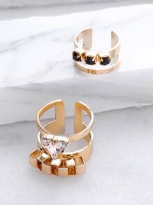 Gold Contrast Rhinestone Hollow Out Cuff Ring Set