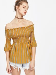 Pinstripe Shirred Bardot Trumpet Sleeve Top