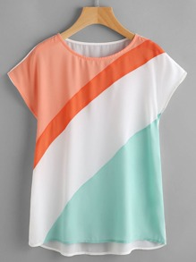 Color Block Cut And Sew Cap Sleeve Top